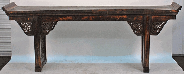 Antique Asian Furniture: Large Carved Antique Chinese Altar Table from Shanxi Province, China