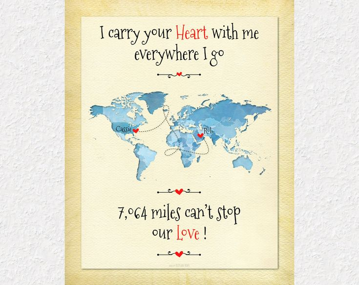 Long Distance Gift for Girlfriend, Going Away Gift for Boyfriend, I Carry Your Heart With Me Quote, Deployment Gift for Wife, Husband, Military Family Gift by KeepsakeMaps on Etsy