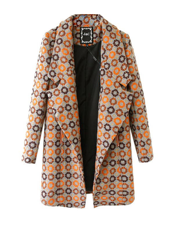 New In Fold Over Collar Printing Parka Coats