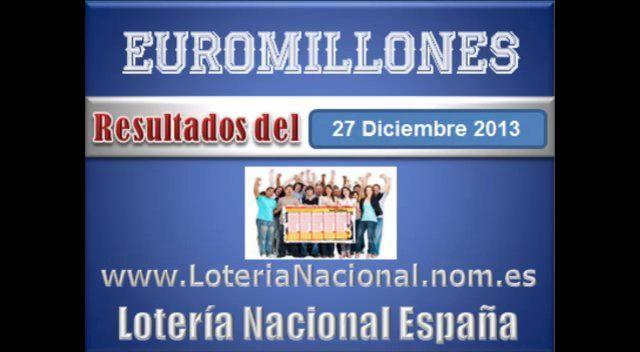 Euromillones resultados del Viernes 27 de Diciembre 2013