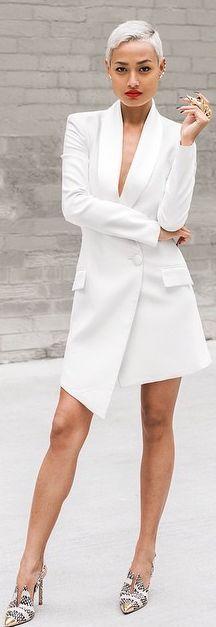 White Asymmetrical Taylor Long Line Blazer