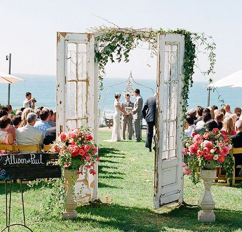 Vintage french doors that you can rent for your beach side wedding ceremony.