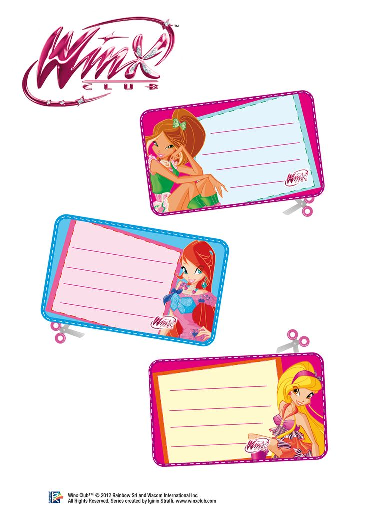 More Winx club stickers used to label cups at birthday party.