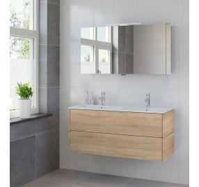 Bruynzeel Module meubelset 120 cm dubbele wastafel spiegelkast led bardolino - Bruynzeel Badmeubelen - 221833k - Sanitairwinkel.nl