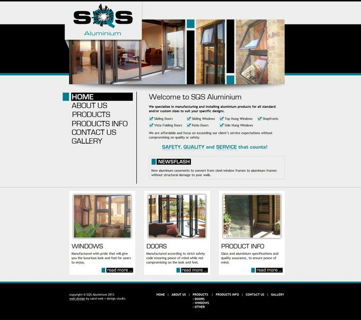 Interior and Exterior website design for SQS Aluminium