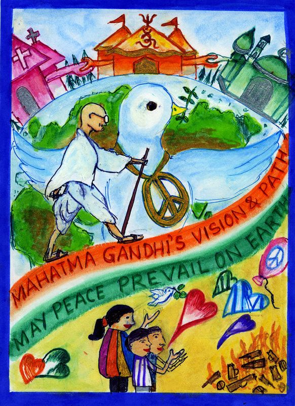 Mahatma Gandhi S Vision Path May Peace Prevail On Earth Picture By Rajashree Choudhury India Poster Drawing Save Water Poster Drawing Emotional Art