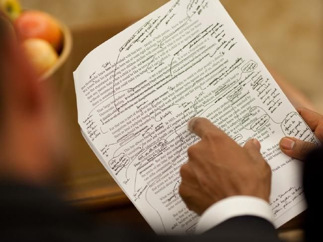 Speechwriter Jon Favreau's draft for a speech with Obama's edits is one of Jon Favreau's favourite pictures. Picture: Official White House Photo by Pete Souza