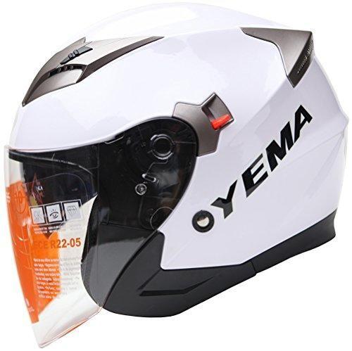 Oferta: 59.99€ Dto: -34%. Comprar Ofertas de YEMA Helmet YM-627 Casco Jet Moto con Doble Visera-Blanco-S barato. ¡Mira las ofertas!