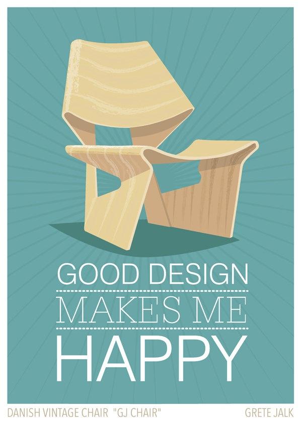 "Poster - ""Good design makes me happy"", Danish retro chair ""GJ CHAIR"", Scandinavian style, Mid Century Modern, Retro, 11 x 17 inch (A3). $19,00, via Etsy."