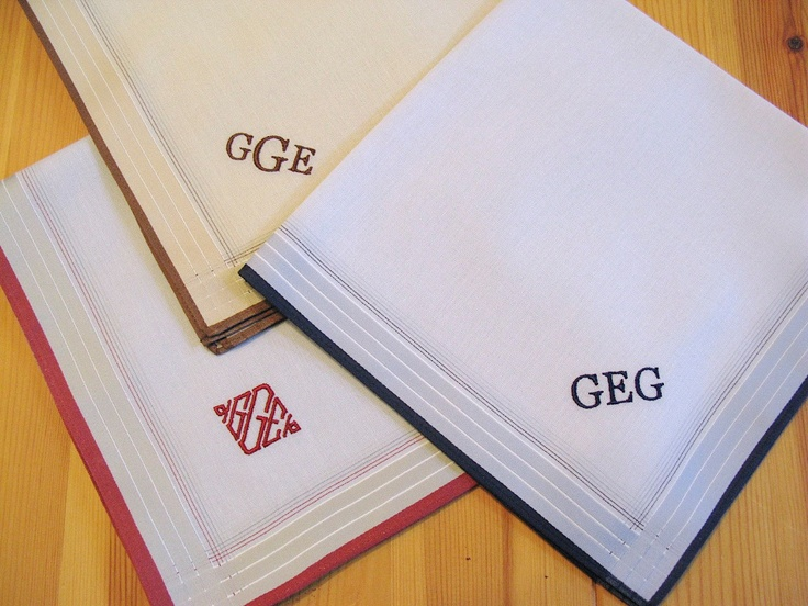 set of 3 assorted color fine cotton mens monogrammed handkerchiefs  style no  2