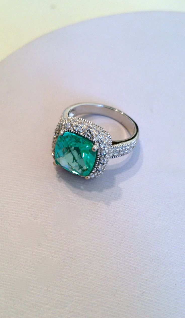 Vintage Sterling Silver Aquamarine Estate Jewelry Ring
