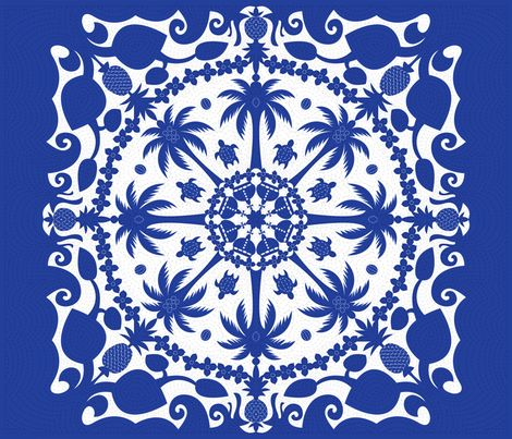 """Traditional Hawaiian Quilt applique motifs of palm trees, pineapples, coconuts, waves, swimming turtles, rings of flower leis, and crowns (a nod to Hawaii's bygone royalty) are all highlighted by blue and white """"stitching"""" on this cheater quilt."""