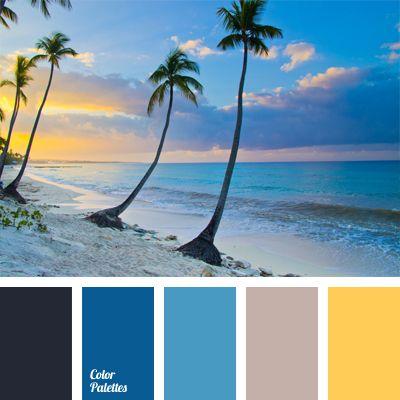 Eine Verbindung aus Schattierungen von Ozeanswasser und Meersand wird natürlich durch sonniges Gelb nuanciert. Diese Farbpalette eignet sich für dieGestal.
