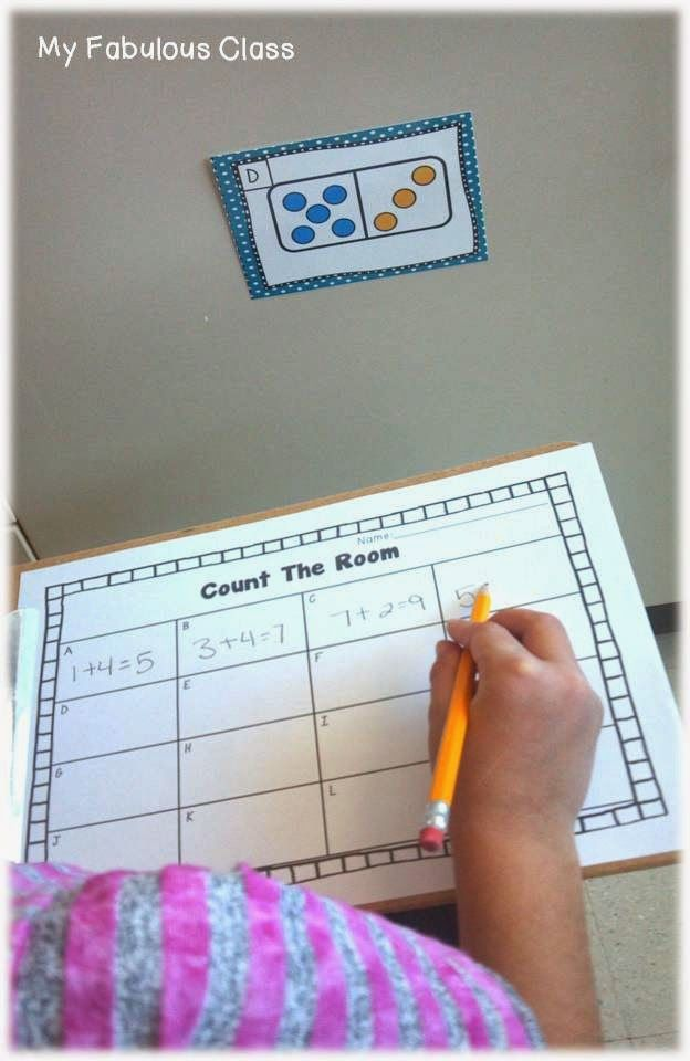 Domino Count the Room. hide domino combinations around the room and have the kids write down the number sentence and answer and see if they can do them all! like a scavenger hunt!