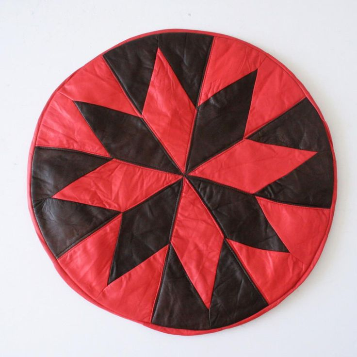Red & Brown Leather Turkish Pouffe