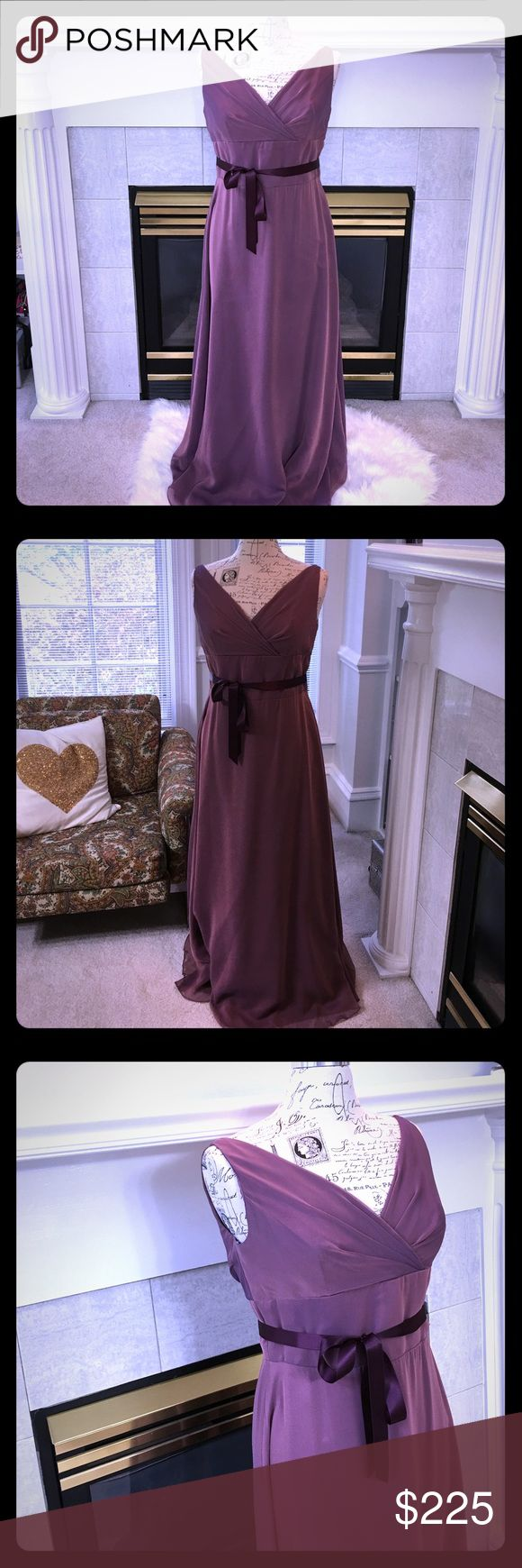 Jim Hjelm Occasions Mother of Bride dress  Sz 16 EUC. No odors, tears or stains. Mother of the bride evening gown in beautiful dusty purple shade with dark purple, removable sash. 💋 Jim Hjelm Dresses Wedding