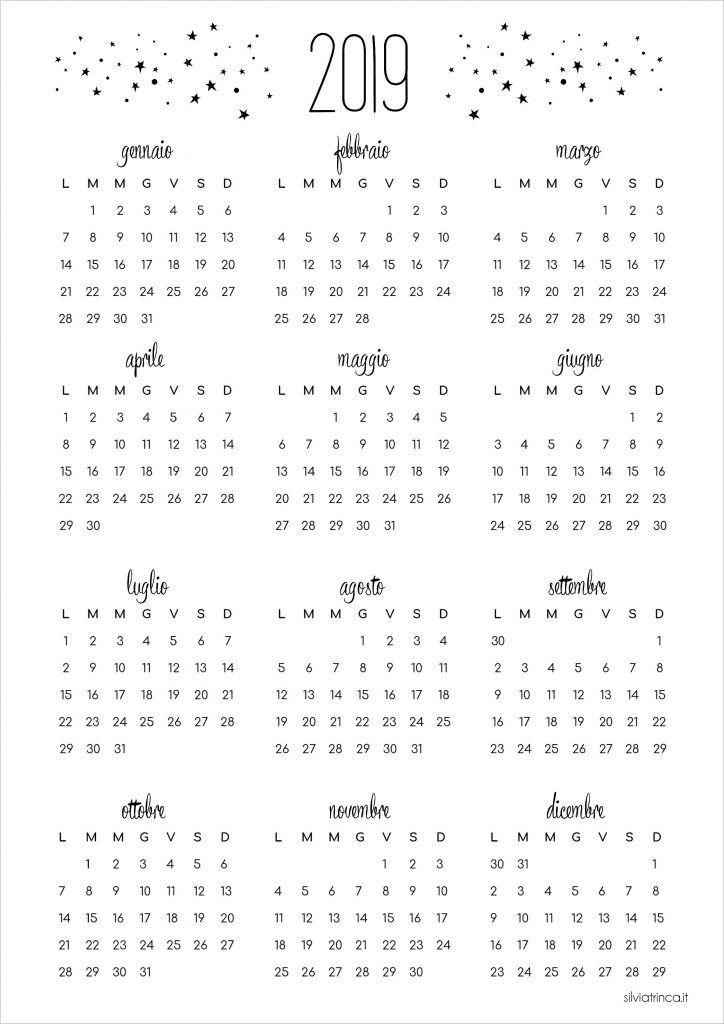 Calendario 2019 a4 da scaricare - 2019 Calendar a4 size ...