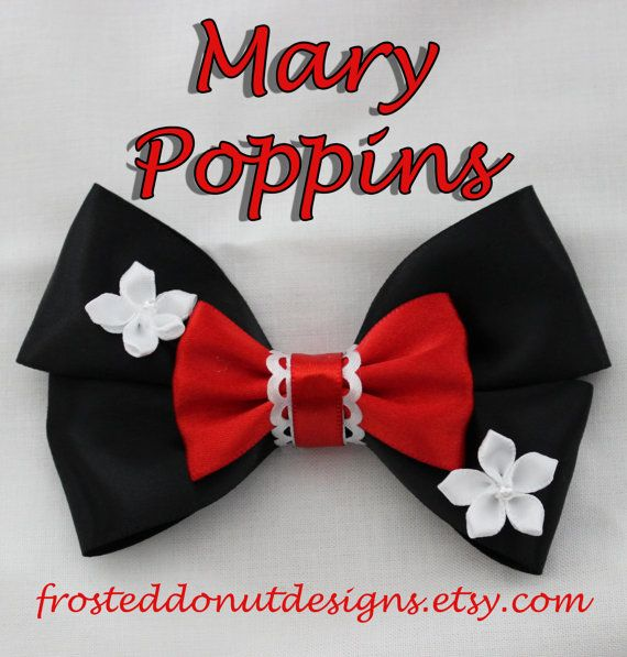Disney's Mary Poppins inspired Bow by FrostedDonutDesigns on Etsy, $9.25