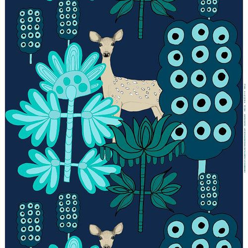Marimekko Kaunis Kauris Dark Blue/Turquoise Fabric Repeat $57.50