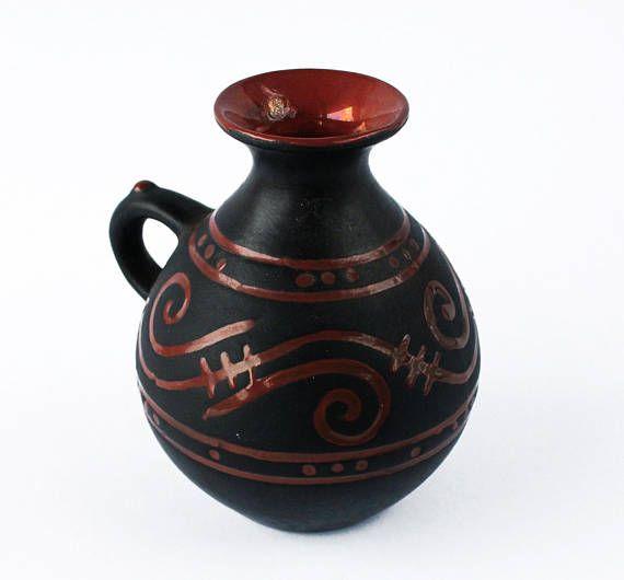 Vintage Caucasus Raku Pottery Vase From Georgia Amphora Shape Matte Black And Glossy Burgundy Red Glazing Caucasus Folk Art Collectible Raku Pottery Collectible Pottery Pottery Vase