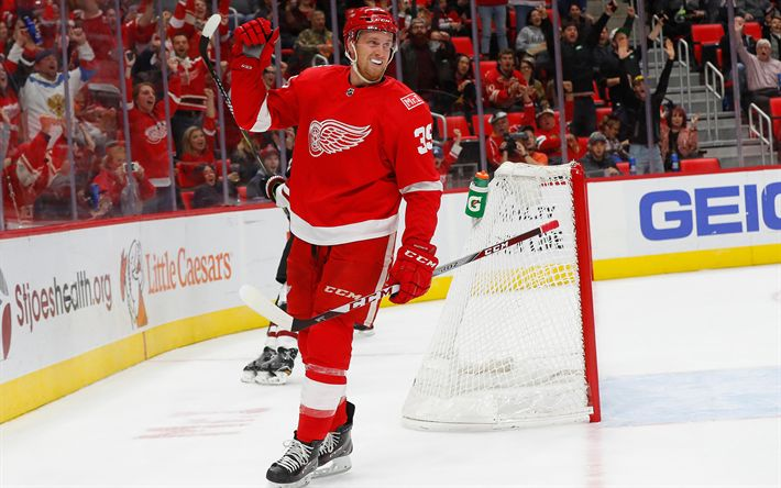 Download wallpapers Anthony Mantha, 4k, hockey players, Detroit Red Wings, NHL, hockey