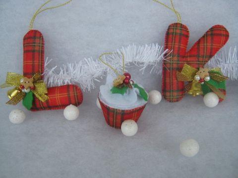 Karácsonyi betűpárok cupcake -el, Dekoráció, Otthon, lakberendezés, Karácsonyi, adventi apróságok, Karácsonyfadísz, Meska