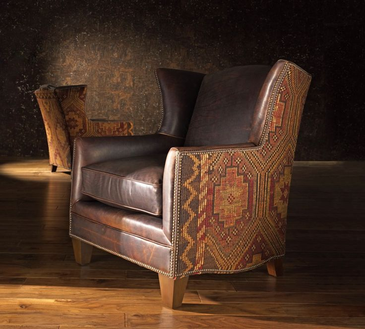 Delightful Unique Leather Upholstered Chairs With Vintage Woven Cloth Motive Above Log  Floor | Unique Upholstered Chairs Home Design Ideas