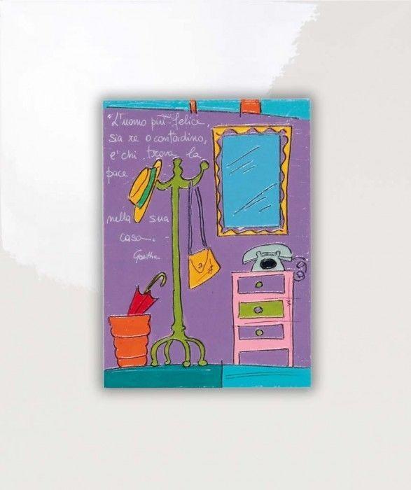 SALVADORIARTE dipinto a mano - quadro 31x26 - decorazione arredo casa aforisma O