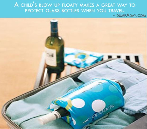 Floaty bottle protector - use a child's floaty to protect a glass bottle when traveling
