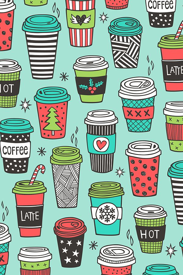 Christmas Holidays Coffee Latte Geometric by caja_design - Hand illustrated latte design in red, turquoise, black, white, and lime green on fabric, wallpaper, and gift wrap.  Adorable coffee lovers design with geometric shapes and patterns. #blackandwhite #stripes #geometric #illustration #giftwrap #coffee #ineedcoffee #design #fabric #wrapit