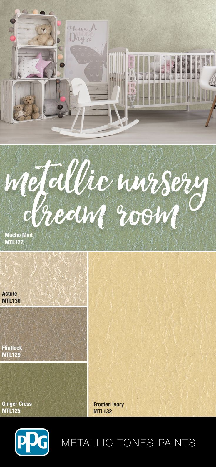 Wanting Sparkle To Your Nursery Room Try Our Metallic Tones Paint Leaving A Sleek Luminous Finish It S Available In Specialty Paints Painting Quality Paint