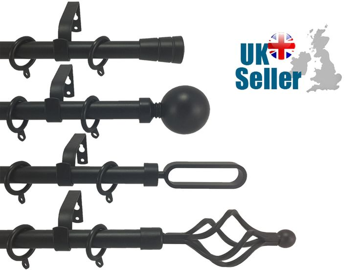 19mm #black #metal extendable curtain pole ball #twist finials 1.2m - 2.1m 2 - 3m,  View more on the LINK: http://www.zeppy.io/product/gb/2/132075878730/