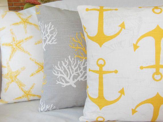 Gray Yellow Nautical Throw Pillow COVERS Beach Cushion Coastal