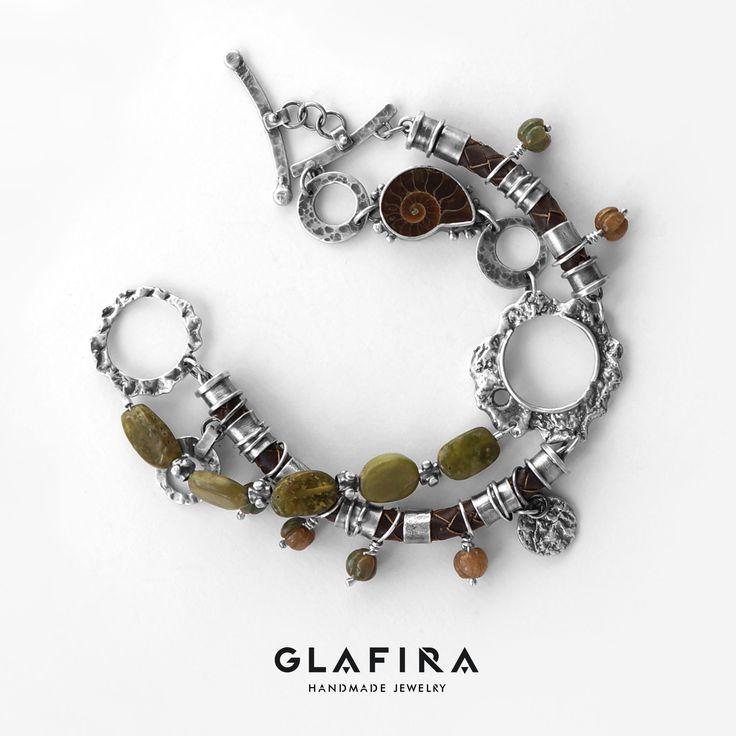 Bracelet №022 Серебро, агаты, аммонит, кожа. Silver, agate, ammonite, leather.