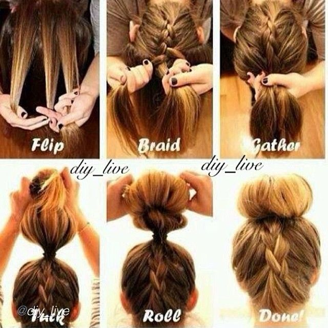 """DIY hairstyle. by @diy_live """"How to do the upside down braided bun!  Tag a friend who would like this.  #howto#diy#diyproject#makeityourself#stepbystep#homemade#doityourself#diys#tutorial#diytutorial#diyideas#adorable#diyproject#project#makeit#instalike#instafollow#like#follow#hair#braid#hairstyle#hairdiy#beautydiy#beauty#braided#hairfashion"""