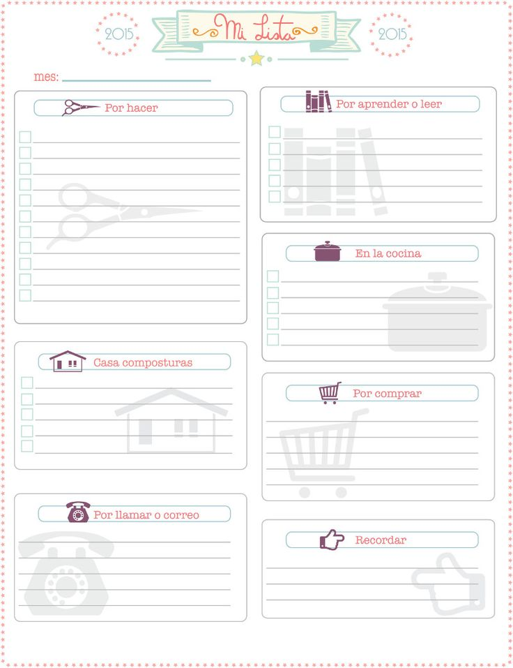 "Gratis imprimible de ""lista de pendientes o notas"", free printable spanish ""to do list"""