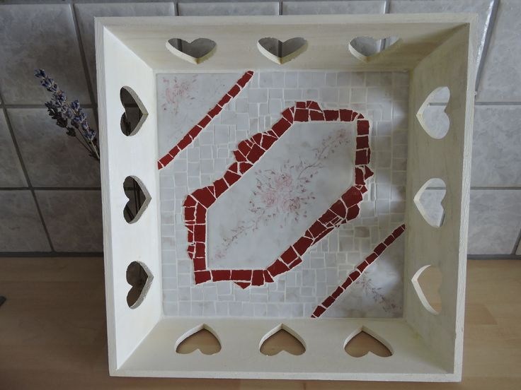 Tablett Mosaik, weiß - rot