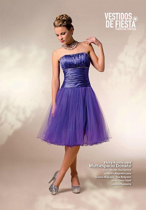Para las que prefieren el vestido corto, acá va una excelente opción . Podemos hacerlo en todos los colores! Corsé de satén violeta, straples, falda de satén con 4 capas de tul, terminación con roulote
