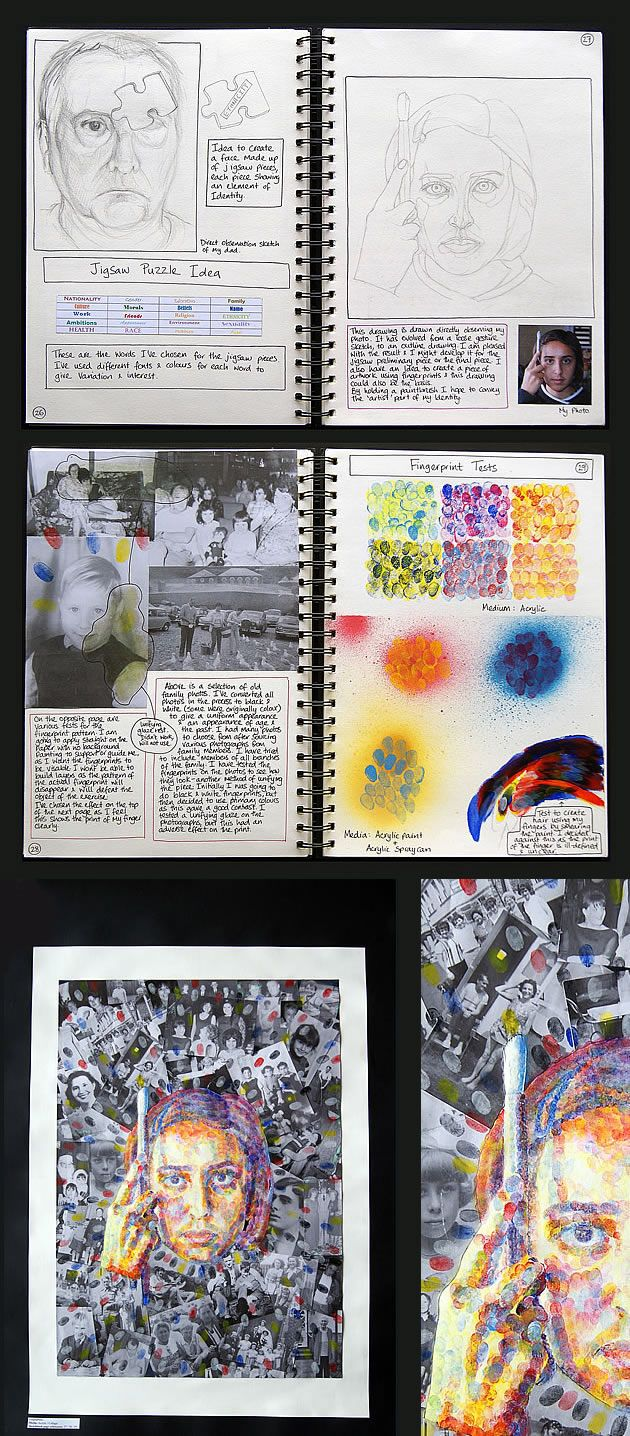 This sequence of work shows two A Level sketchbook pages leading towards a vertical A1 prep sheet (enlarged detail shown to the right). Note the inclusion of innovative painting techniques combined with collage.