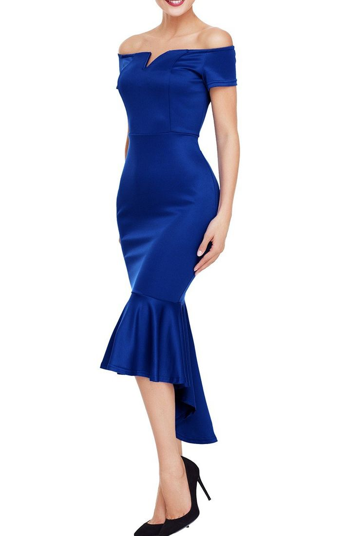 Robe Sirene Soiree Bleu Epaules Denudees Manches Courtes Pas Cher www.modebuy.com @Modebuy #Modebuy #Bleu #style #trend #newstyle #outfitpost