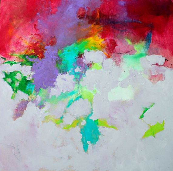 Expressionist Intuitive Colorful Abstract by kerriblackmanfineart, $155.00