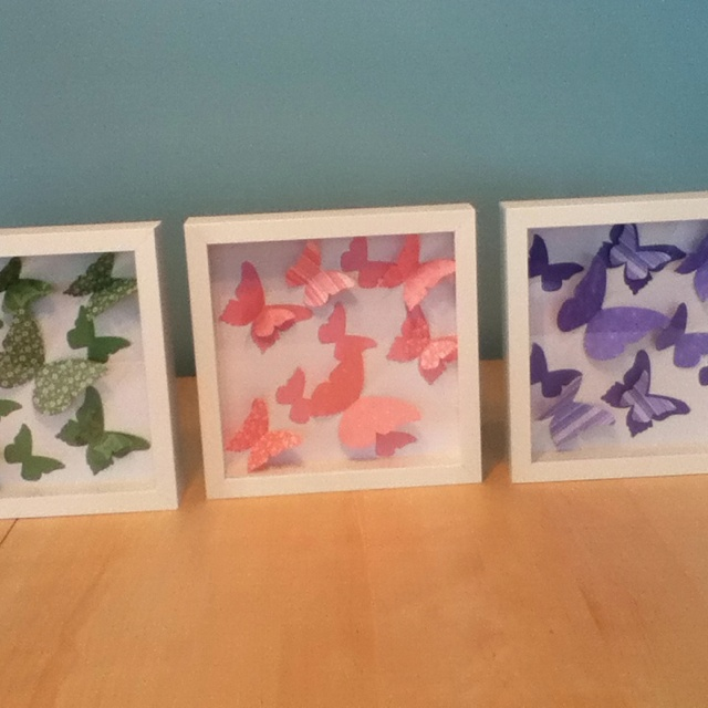 Homemade butterfly shadow boxes. Ikea frames sizzix big shot die and st&in up paper & 46 best Shadow Box Crafts images on Pinterest | Shadow box Good ... Aboutintivar.Com