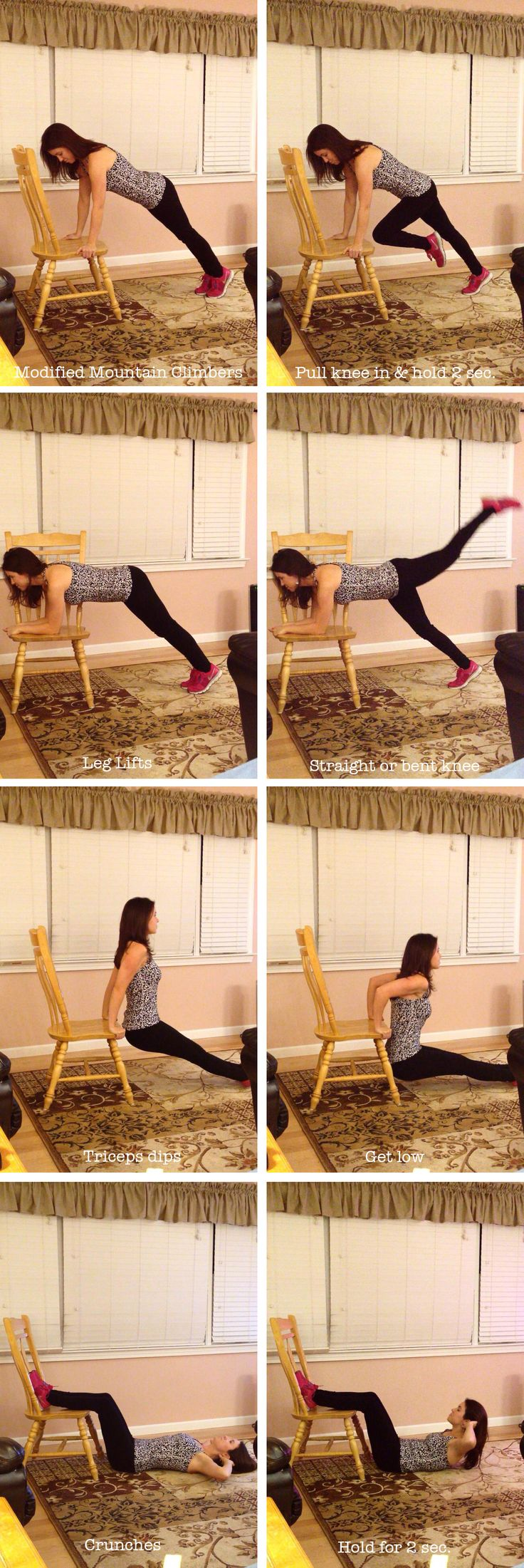Chair exercises. Modified Mountain Climbers (abs), 20 each side | Leg Lifts (booty), 20-30 each leg | Triceps Dips, 8-15 dips | Crunches, 20-30. Repeat entire circuit 3 or more times. | Workout, fitness, strength, muscle, toning, at home workouts, no gym, healthy, fit mom, fibromyalgia.
