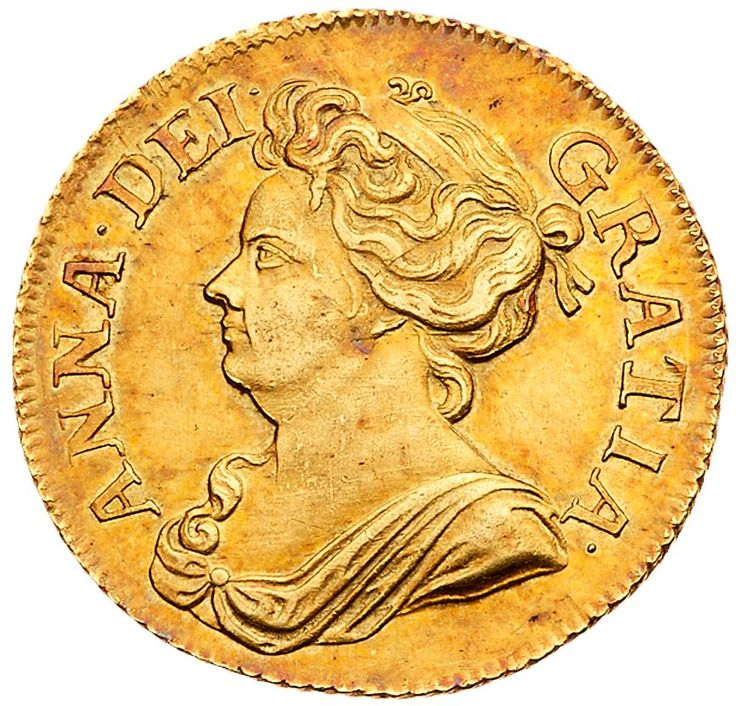 Anne (1702-14), gold Guinea, 1709 Anne (1702-14), gold Guinea, 1709. Post-Union, second draped bust left, legend surrounding, ANNA.DEI. GRATIA. toothed border around rim both sides, rev. Post-Union crowned cruciform shields, scepters in angles, garter star at center, date either side of top crown, MAG. BRI. FR ET. HIB REG. (Schneider -; MCE 220; S 3572; Fr 320; KM 529.1). Raised die flaw in hair otherwise with an attractive red tone, in PCGS holder graded AU 58, Pop 2; tied for the finest…