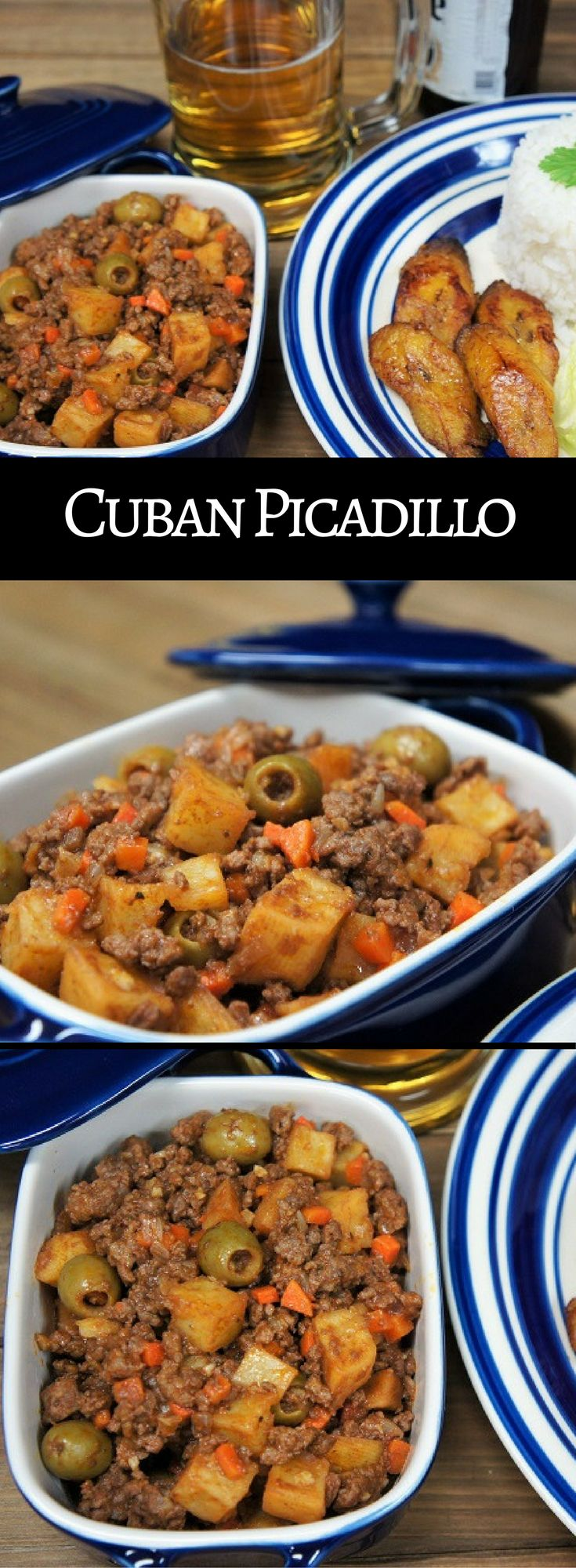 Cuban Picadillo is perfect comfort food. It's really easy to make too, and doesn't take all that long, so it's perfect for weeknight meals. In this recipe we go all out with fried potatoes, veggies, spices and salty olives cooked with lean ground beef and tomato sauce. The picadillo is served with white rice for a traditional Cuban dinner.