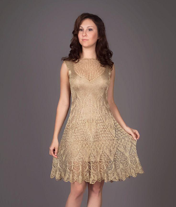 Golden metallic knitted dress, Lecrochet Art on etsy.