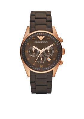Emporio Armani  Mens Brown Silicone Bracelet Chronograph Watch