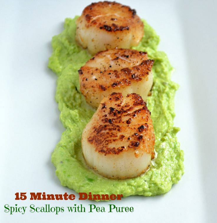 15 minute meals Spicy Seared Scallops & Pea on It's a Keeper