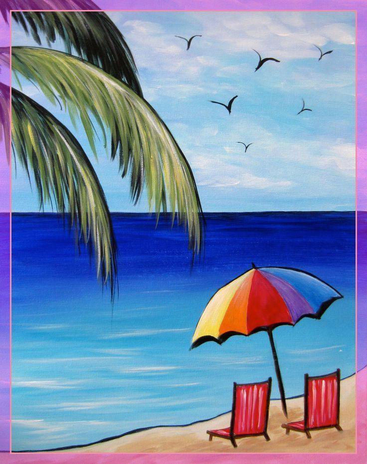 70 Reference Of Beach Chair Drawing Simple In 2020 Beach Art Painting Art Painting Easy Canvas Painting