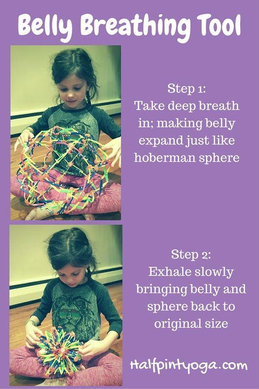 Using hoberman sphere to visually demonstrate deep belly breathing #kidsyoga #kidsrelax